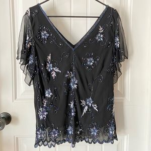 Adrianna Papell Boutique Sequin Black Blouse